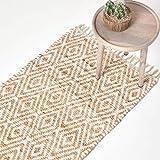 Homescapes Teppichläufer Sierra, handgewebt aus 100% Hanf, 66 x 200 cm, Flickenteppich mit geometrischem Rautenmuster und Fransen, Creme/Natur