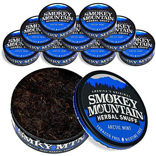 Smokey Mountain Herbal Snuff - Arctic Mint - 10-Can Box - Nicotine-Free and Tobacco-Free