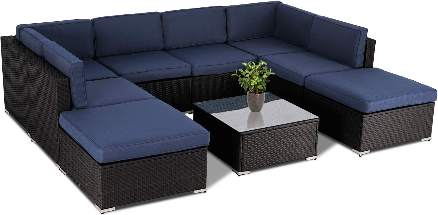 SUNCROWN Outdoor 9-Piece unisex Patio Max 40% OFF Black All-Weather Sets Furniture