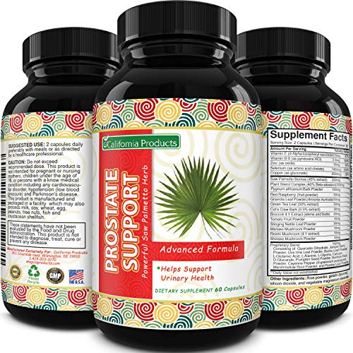 California Products Natural Prostate Support Supplement for Men, Pygeum with Pure Saw Palmetto Berries Extract Vitamins Zinc Plant Sterol Complex Best DHT Blocker for Hair Growth Easy Urinary Flow