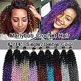 SEGO Jerry Curl Crochet Hair Bundles Marlybob Crochet Hair 14 Inch Kinky Curly Water Wave Crochet Hair Braids For Black Women Bohemian Curl Crochet Hair Extension Black to Light Auburn 3 Bundle