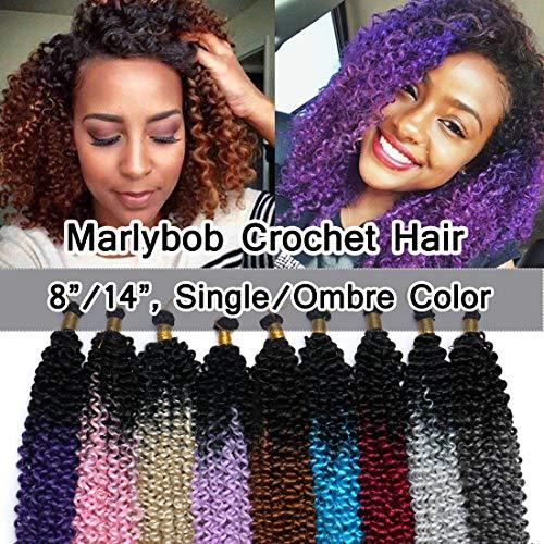 SEGO Marlibob Marlybob Crochet Braids Hair Extension 14 Inch Ombre Water Wave Crochet Braiding Hair Braids Kinky Curly Afro Jerry Curl Crochet Hair Weave for Black Women #Black to Dark Purple 3 Bundle