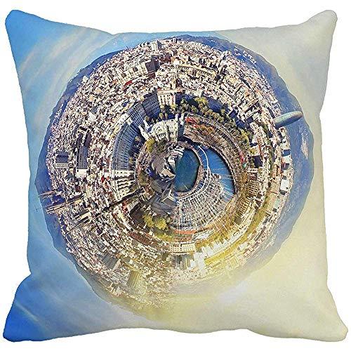 Almohada Little Planet Panorama de Barcelona España en...