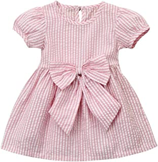 Infant Baby Girls Party Princess Clothes Short Sleeve Stripes Dress with Bows
