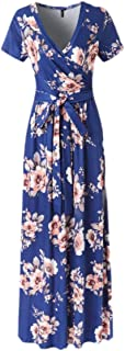 Mogogo Women's Floral Print Beach Tunic Stylish Short-Sleeve Maxi Long Dress