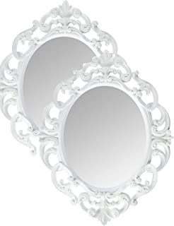Kole White Oval Vintage Wall Mirror (2)