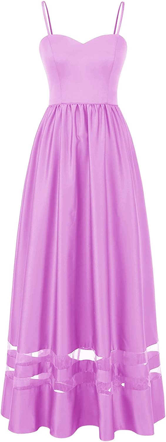 ALAGIRLS Women Satin Prom Dresses Long Sweetheart Patchwork Formal Party Gowns