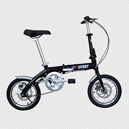14 Zoll Aluminiumlegierung Faltrad V Bremse Fischschuppen Schweißen Single Speed ​​Ultra Light Portable Bike,Black