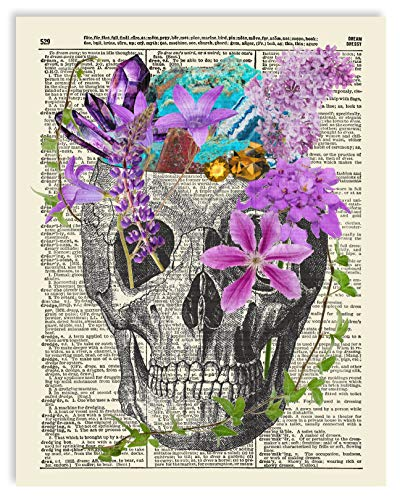 Skull With Flowers and Crystals Upcycled Vintage Dictionary Art Print 8x10
