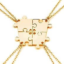 SIVITE 4 Pcs Puzzle Best Friends Forever Necklace Engraved Heart Charm Pendant Set BFF Friendship Necklace