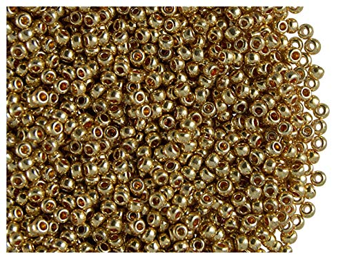 20gr 11/0 (2,0-2,2 mm) Tchèque rond Perles de rocaille de verre, Light Gold Metallic
