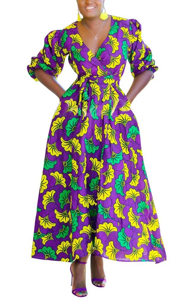 Available at Amazon: ThusFar Women Geometric Floral Print Dress V Neck Short Sleeve Maxi Dress with Belt Party Club