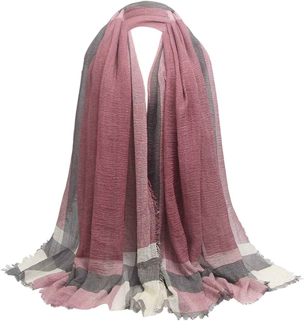 HUAYI Women's/Men's Oversized Wrinkled Cotton and Linen Fibe Shawl Scarf