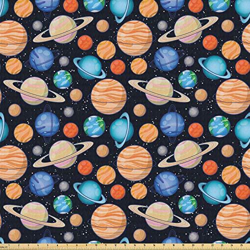 ABAKUHAUS heelal Stof per strekkende meter, Galaxy Space Art Solar, Stretch Gebreide Stof voor Kleding Naaien en Kunstnijverheid, 2 m, Veelkleurig