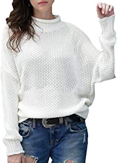 Women's Drop Shoulder Mock Neck Pullover Sweater Long Sleeve Sweaters