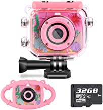 Waterproof Kids Camera Camcorder 12MP HD Kids Action Camera Video Recorder Underwater 32G SD Card - Birthday, Christmas, Festival Gifts for 4-12 Boys Girls (Pink + Silicone case)