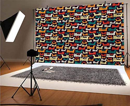 Gatos fondo de vinilo para fotografía, diseño de gatitos divertidos en colores...