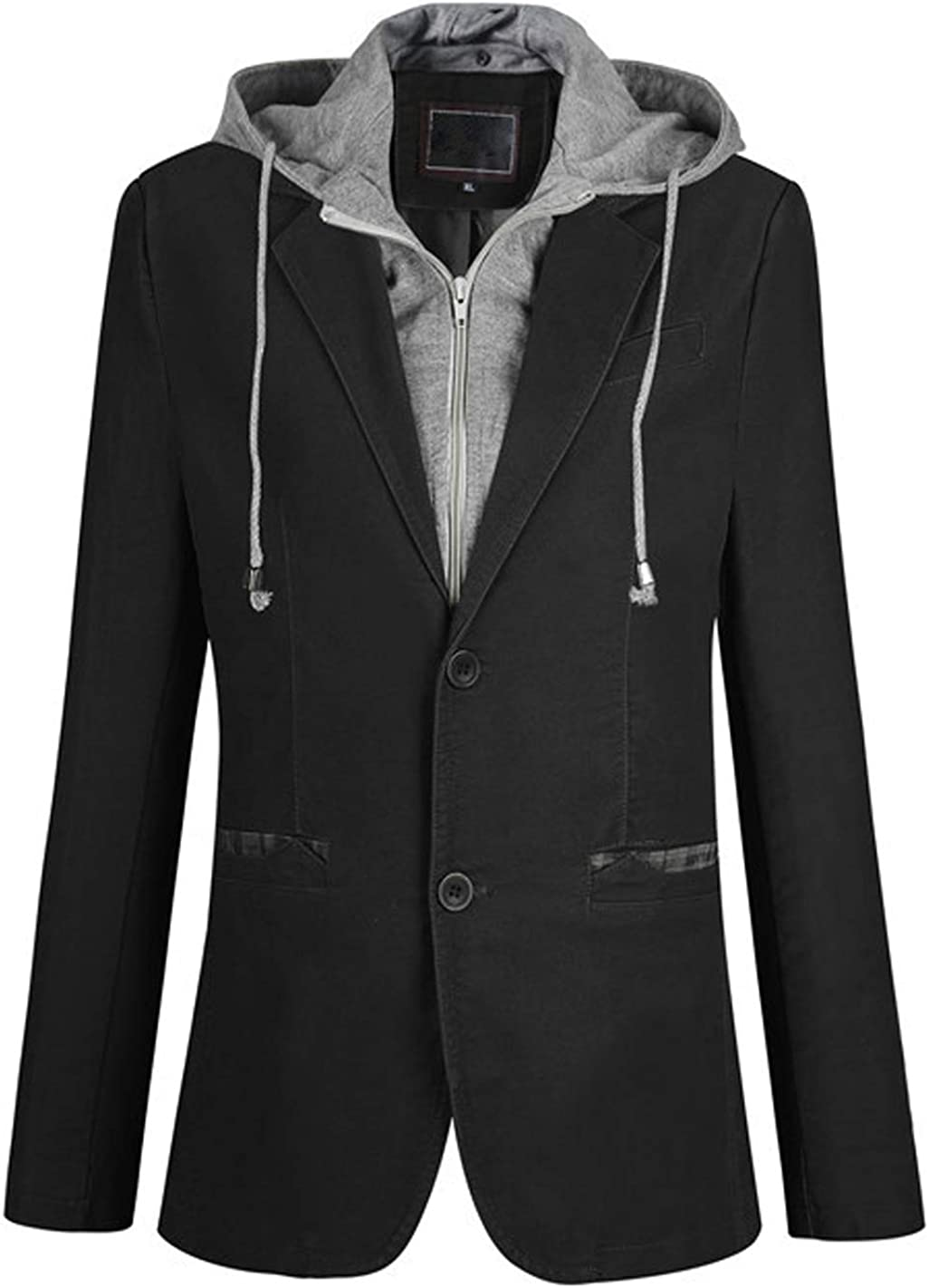 chouyatou Men's Slimming Notch Lapel 2 Button Removable Hooded Cotton Suit Blazer Jacket