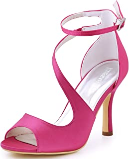 55106187eb44 Elegantpark HP1505 Women s Open Toe Rhinestones Ankle Buckle High Heel  Sandal Satin Eveing Party Shoes