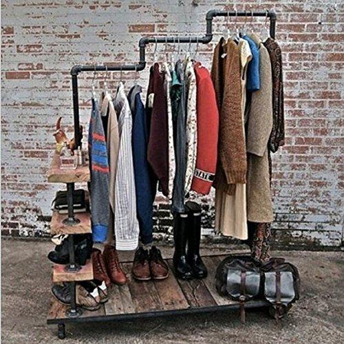 MEIDUO Étagères Cintres Support à vêtements Conduite d'eau Bois massif de fer Présentoir de vêtements L100 * W 40 * H160 CM très durable
