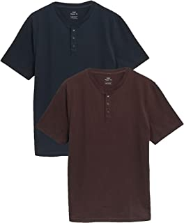 Marks & Spencer Men's 2 Pack Pure Cotton Henley T-Shirts
