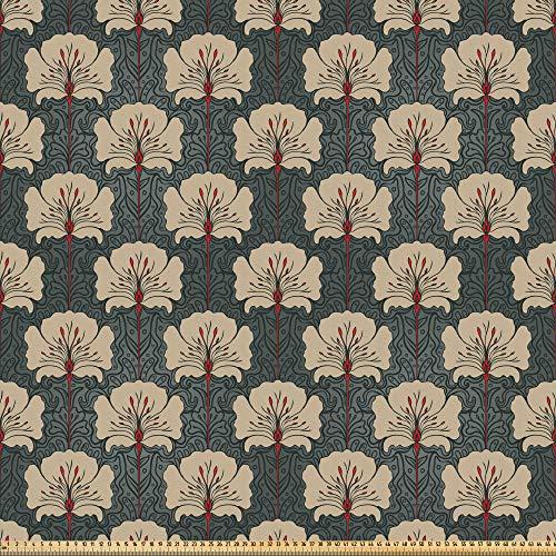ABAKUHAUS Blumen Stoff als Meterware, Jugendstil-Mohnblumen, Microfaser Stoff für Dekoratives Basteln, 1M (230x100cm), Zinnoberrot Grau Tan