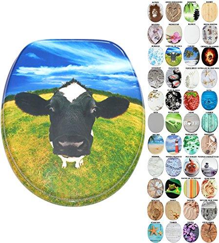 Asiento de inodoro, gran selección de atractivos asientos de inodoro con calidad superior y duradera de madera (Cabezal de vaca)