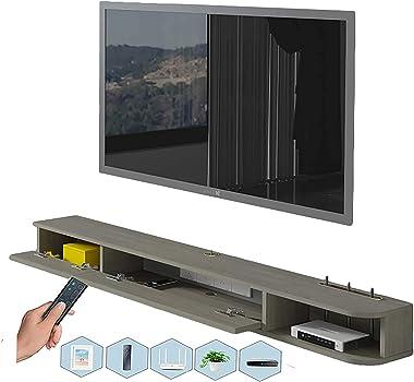 TV Cabinet, TV Lowboard, Floating Shelves, Floating TV Stand Component Shelf, Wood Structure is Stable, TV Set-Top Box Shelve