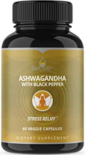 BeLive Ashwagandha Capsules, Vegetarian Friendly Organic Pills with Black Pepper for Better Absorption (Withania somnifera), 60 Veggie Caps