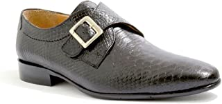 VITELO Men's Monk Shoes in Leather Snake Print in Black and Tan M 36