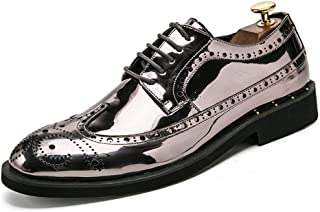 Men's Business Oxford Fooling Fashion Personality Retro Etched Colorful Patent Leather Brogue Shoes casual shoes (Color : Silver, Size : 44 EU)