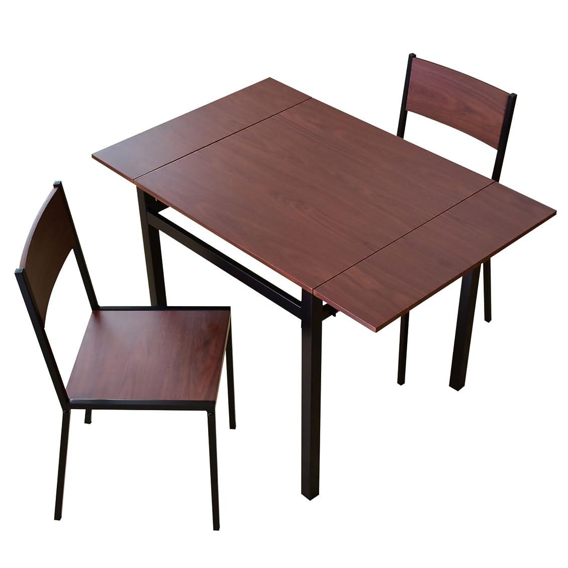 拾うで案件DORIS ダイニングテーブル 2人用 ダイニングテーブルセット 3点セット 伸縮 伸長式 幅80~120 2人掛け 組立式 フレイヤ ブラウン
