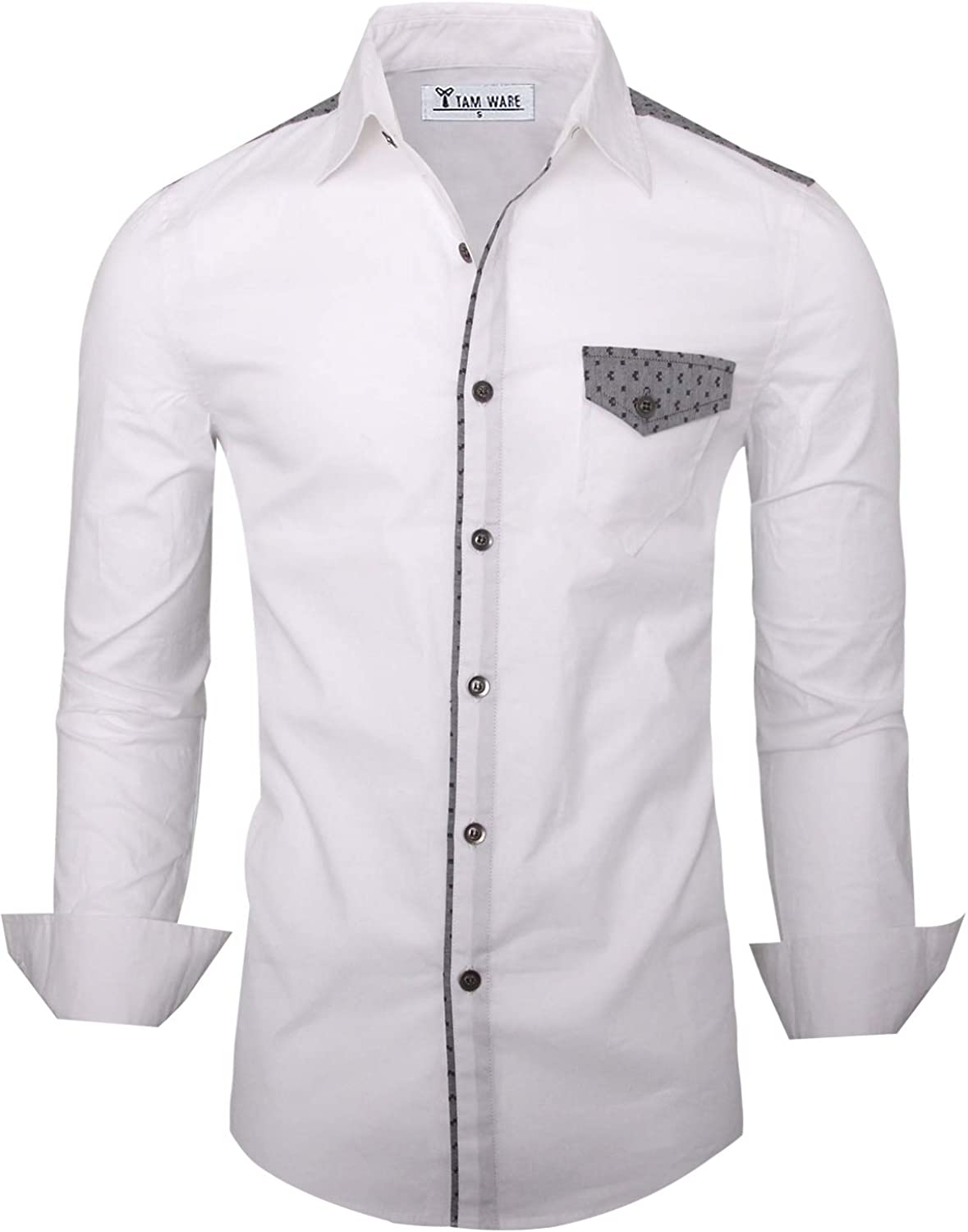TAM WARE Men's Stylish Slim Fit Two-Toned Long Sleeve Button Down Shirt