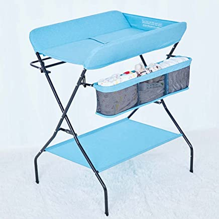 Ali  Baby Changing Table  Baby Care Desk  Neonatal Multifunction Collapsible Touch The Massage Table  The Baby organizes The Console  Load  Gray  Blue  Champagne  Color Blue