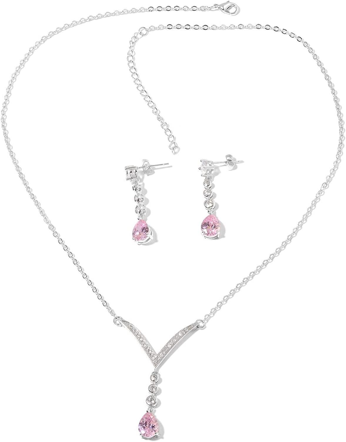 Shop LC Genuine Diamond Pink Cubic Zirconia CZ White Platinum Plated Earrings Necklace Prom Fashion Jewelry Birthday Gifts Set for Women 18