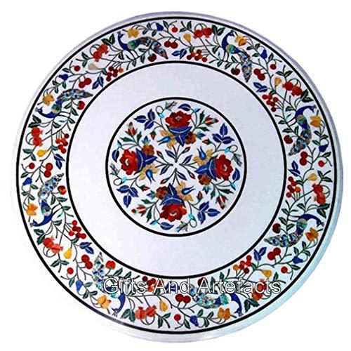 Mesa de centro redonda de mármol blanco con incrustaciones de pavo real de 30 x 30 pulgadas