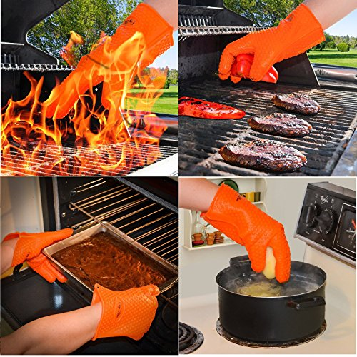 Heat Resistant Oven Gloves With Total Fingers - BBQ Grilling Mitt With Non-Slip Grip Design - One Size Fits All - Made From Food Grade Silicone - Insulated And Waterproof - Hand And Wrist Protection
