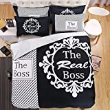 Lldaily 4 Pieces Couple Duvet Cover Set-Bedding Set with 1 Flat Sheet and 1 Duvet Cover and 2 Pillowcases for Lovers King Size,Boss