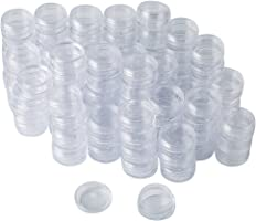 Bekith 108 set Clear Empty 3 Gram Plastic Pot Jars, Cosmetic Containers With Lids