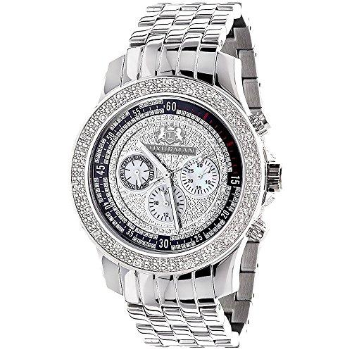 LUXURMAN Diamond Watches for Men: Genuine Diamonds Raptor Mens Watch Stainless Steel Case 0.25ct