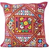 Eyes of India - 16' Burgundy Red Colorful Patchwork Sofa Throw Pillow Cushion Cover Case Couch Boho Chic Indian Bohemian Accent Handmade Cover ONLY