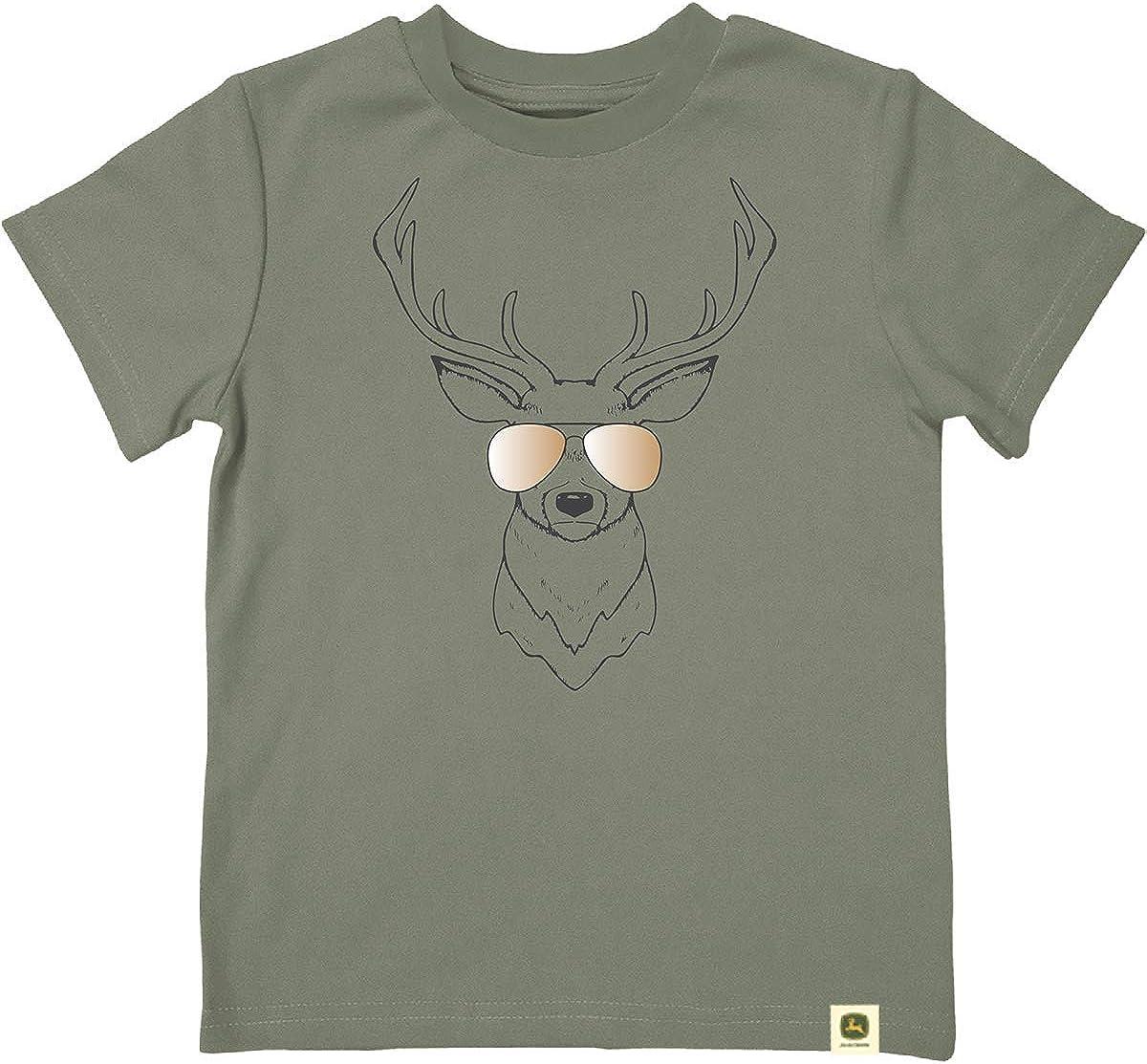 John Deere Do Good Today Baby Infant Deer in Sunglasses Short Sleeve Thirt-Olive