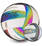 REBOIL Holographic Glowing Reflective Volleyball – Waterproof Indoor/Outdoor Volleyball for Pool, Beach. Composite Leather, Official Size 5 Toys for Kids Boys and Girls Play Night Game