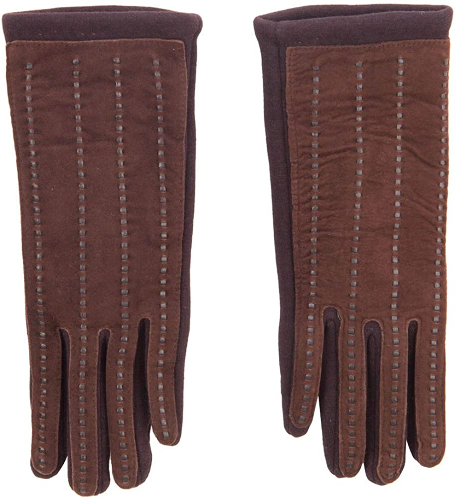 Women's Jersey Leather Texting Gloves
