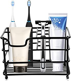 Stouge Stainless Steel Shower Toothbrush and Toothpaste Holder for Bathroom (Black, Large)