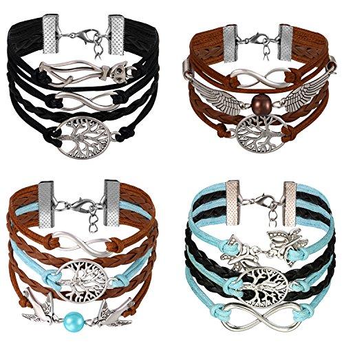 Aroncent 4er Unisex Armband Infinity Armkette Lebensblume Damen Armband Leder Flügel Lederarmband Schwarz Leder Wickelarmband Vintage Charm Armband Leder mit Unzertrennliche, Katze, Schmetterling