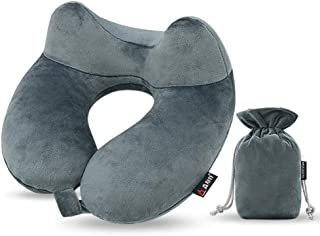 Neck Rest Air Inflatable Travel Pillow Car Airplane Nap Head Pillow Neck Support Collapsible Gel U-Shaped Soft Airplane Neck Pillow for Mens Women (Grey)