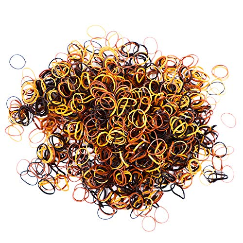 Elastic Bands 1000 Pcs Strong Unbreakable Stretchy Reusable Multi-Purpose Rubber Hair Ties (Brown Assorted - 4 Pack of 250 Pcs)