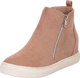 Cambridge Select Women's High Top Side Zip Chunky Platform Low Hidden Wedge Fashion Sneaker
