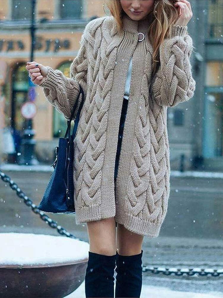 Minetom Cardigan Lang Damen Strickjacke Herbst Winter Lose Langarm Warm Gestrickt Pullover Mantel Jacke Elegant Strickpullover Khaki